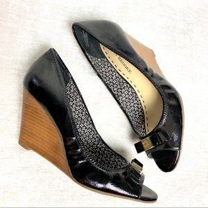 DSW Vegan Leather Peep-Toe Wedges
